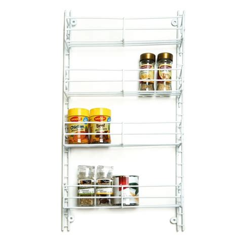 White Spice Shelf Spice Rack 4 Tier Adjustable White From Storage Box
