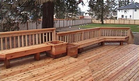 decks with benches benches custom cedar benches composite benches deck