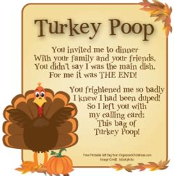 Printable Turkey Poop Poem | stacked stone farm turkey poop gift bags for your