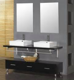 Double Sink Bathroom Ideas by Black Vanity With Grey Wall For Modern Bathroom Ideas With