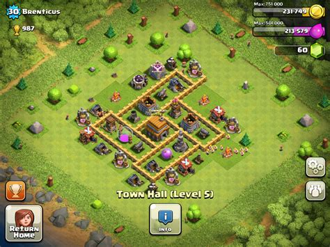 Layout Coc Town Hall 5 | clash of clans town hall 5 layout clash of clans