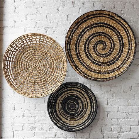 basket wall decor decorating home with ethnic wicket dishes and bowls