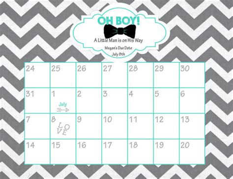Baby Shower Calendar Template