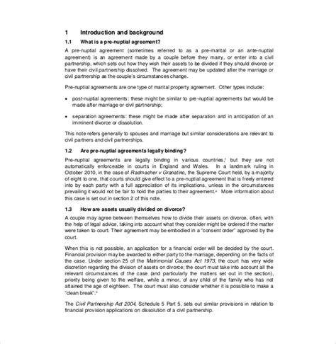 prenuptial agreement template free prenuptial agreement template 10 free word pdf