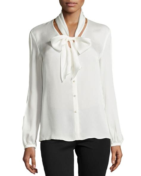 tie neck sleeve shirt lyst escada sleeve tie neck silk blouse in white