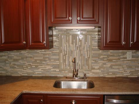 Kitchen Backsplash Glass Tile by Glass And Stone Backsplash With Accent New Jersey Custom