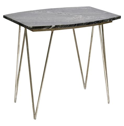 Silver Side Table Piazza Regency Black Marble Silver Side Table Kathy Kuo Home