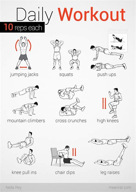easy daily workout 10 reps each fitness sports and health easy daily workouts exercise y