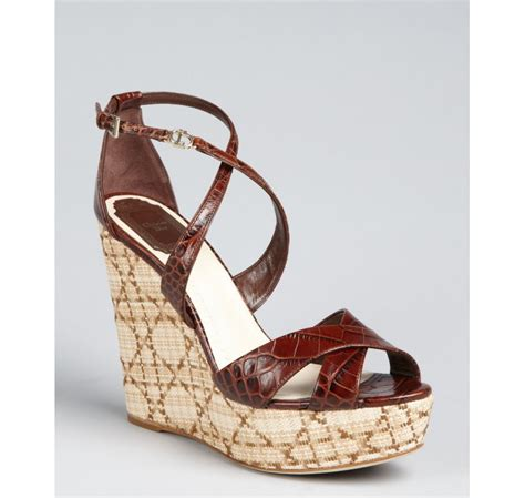 crocodile pedro brown brown croc embossed leather crisscross escapade wedge