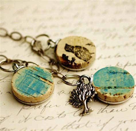 Martin Handmaidens Neklace wine cork necklace bluebirds upcycled silver by uncorked