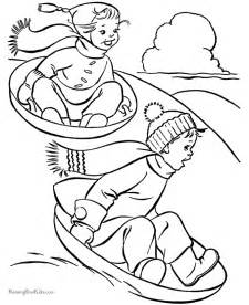 sledding children colouring pages