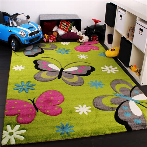 teppich pink carpet with butterfly design childrens room rug green
