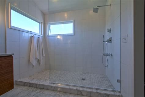 Showers Without Glass Doors Master Shower With Partition Glass No Door Contemporary Bathroom Indianapolis