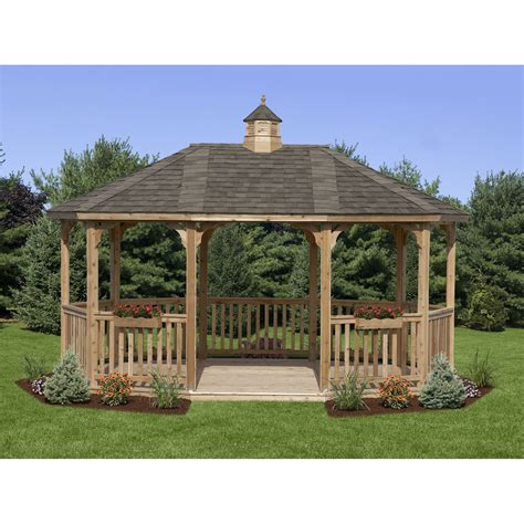 gazebo kit oval cedar gazebo kit 12 ft x 18 ft