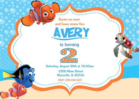 finding nemo invitations template finding nemo birthday invitations home ideas