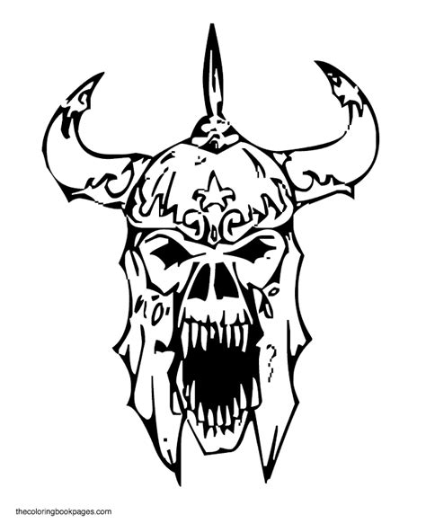 free skull in flames coloring pages