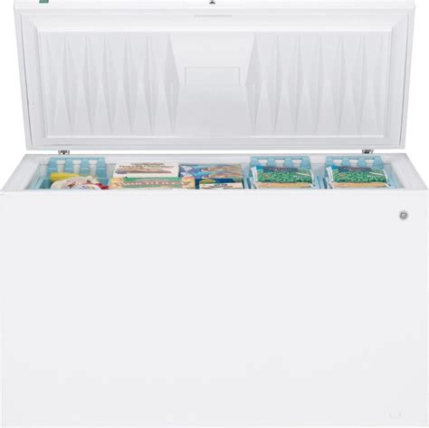 Chest Freezer Second Mulus ge fcm20suww 19 7 cu ft chest freezer with manual defrost 5 lift out and sliding bulk storage