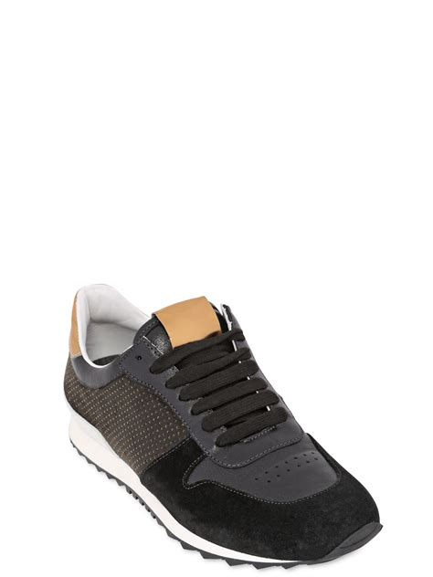 black leather running shoes casadei suede laminated leather running shoes in black lyst