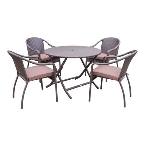 Wicker Dining Table Set Jeco 5 Wicker Table Dining Set In Brown W00501r G Fs007
