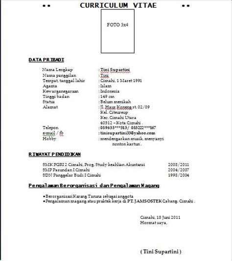 format curriculum vitae untuk narasumber surat lamaran kerja dan cv anekacontoh