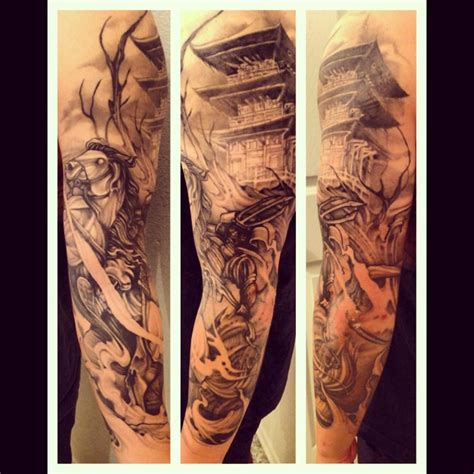 samurai sleeve tattoo samurai sleeve by mikey carrasco at outerlimits orange