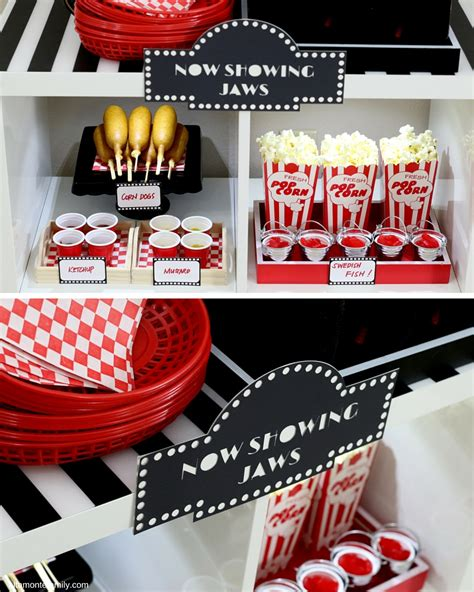 printable movie themed party decorations diy concession stand free printables and cut files