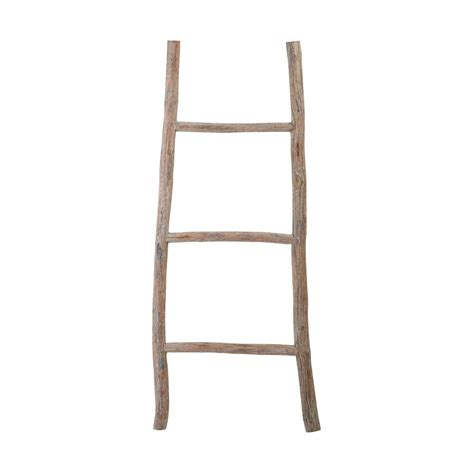 17 in x 70 in white washed wood decorative ladder tn