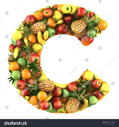 c fruit letter c made fruits isolated on stock illustration