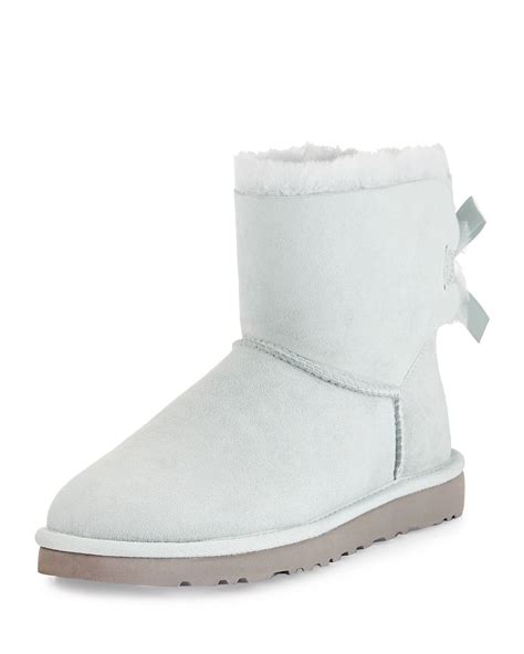 white ugg boots for ugg mini bailey bow back boot in white blue