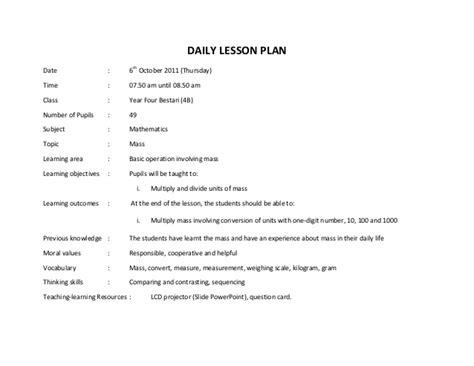 contoh rancangan pengajaran harian matematik tahun 4 mass