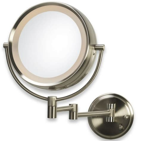 conair double sided lighted wall mount mirror brushed nickel conair be6bx lighted 8x 1x brushed nickel fog free wall