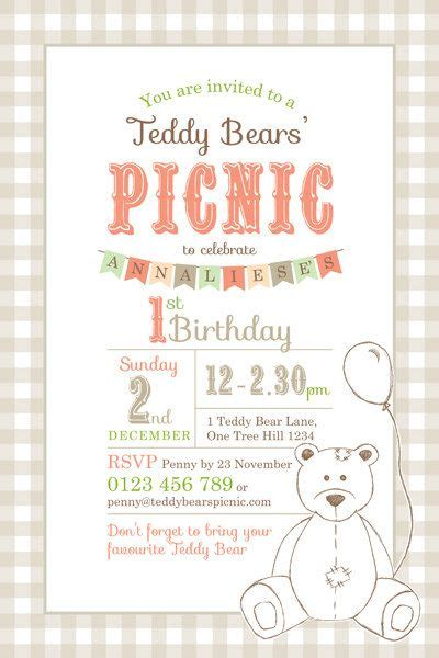 Teddy Picnic Invitation Template printable custom birthday invitation template