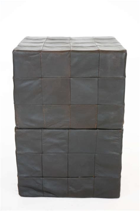 leather cube ottoman black leather cube ottomans by stendig at 1stdibs