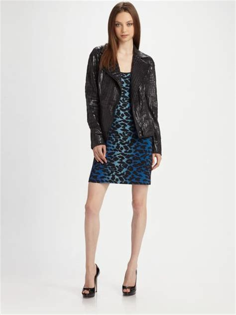 Rocking Fashion By Royal Underground by Royal Underground Chiffon Back Faux Croc Jacket In Black