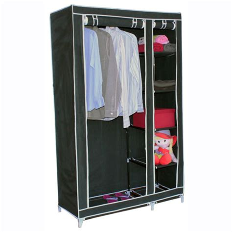 Canvas Wardrobe Canvas Wardrobe W Hanging Rail Storage Shelves Ebay