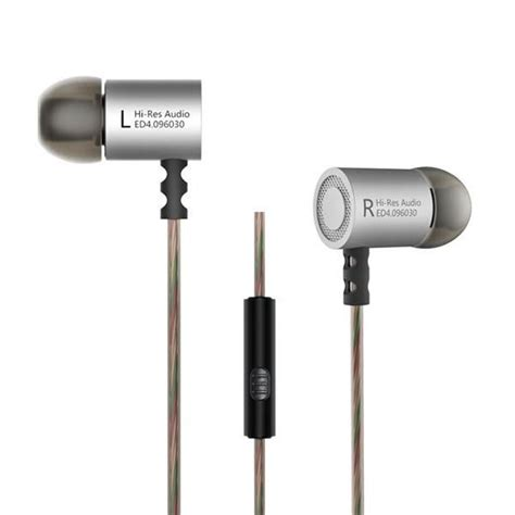 Earphone Bass 10mm Driver 1 knowledge zenith hifi metal in ear earphones heavy bass 9 6mm driver with mic kz ed4 silver