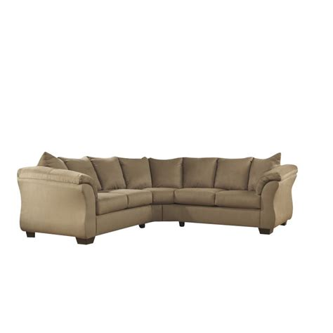 ashley 2 piece sectional ashley darcy 2 piece sectional in mocha 75002 55 56 kit