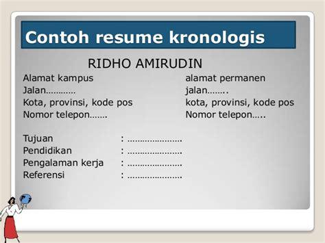 Contoh Kronologis by Kombis Penulisan Resume