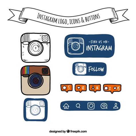 follow us on instagram template logo iconos y botones de instagram dibujados a mano