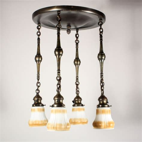 Antique Brass Chandeliers For Sale Amazing Antique Four Light Brass Chandelier With Glass Shades Nc1115 For Sale Antiques