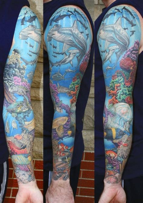 ocean themed tattoo sleeve 40 sleeve tattoos for underwater ink design ideas