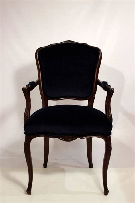 Fabric Dining Chairs Sale Six Dining Room Chairs With Navy Velvet And Damask Fabric For Sale At 1stdibs