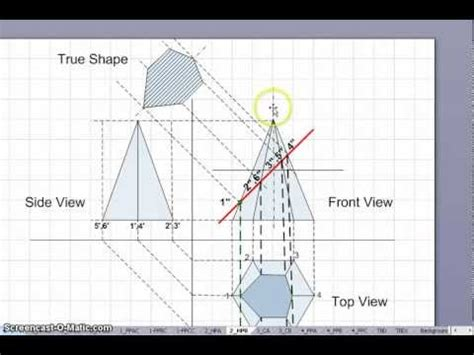 section of solids sections of solids hexagon pyramid youtube