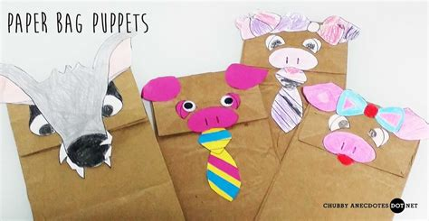 paper n craft 3 pigs paper bag puppets craft