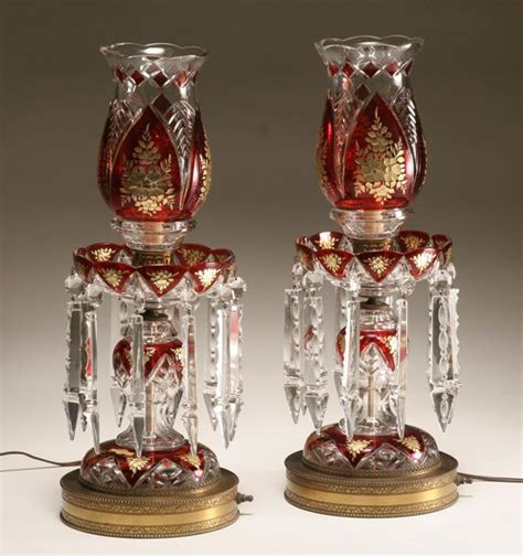 barock luster pair of bohemian lustre ls cut to clear lead