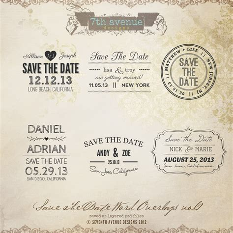 save the date invites templates save the date word overlays vol 1 overlays savethedate1