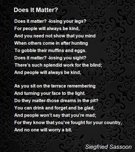 what does matter do does it matter poem by siegfried sassoon poem
