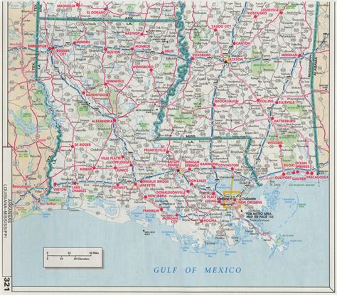 highway map  louisiana  travel information