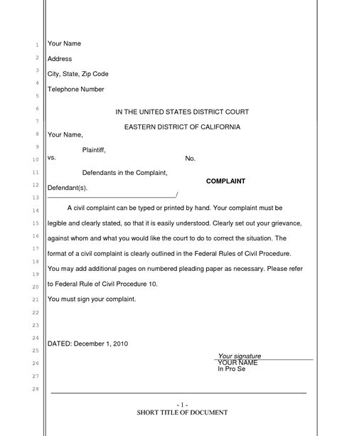 pleadings template best photos of california pleading format california