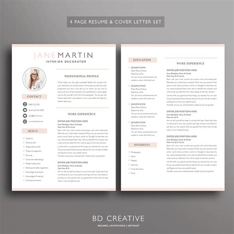 professional resume template sets bd creative resumes